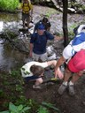 A helping hand up after crossing Bailey Run
